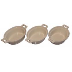 Miseczki do dipów i sosów porcelanowe, zestaw 3 szt wzór garnek