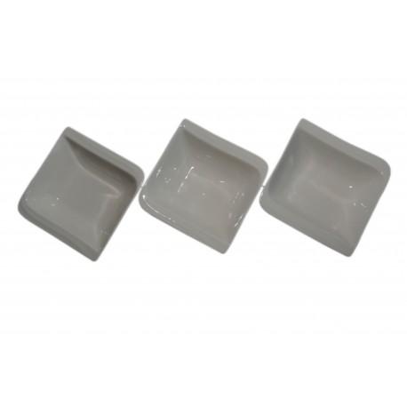 Miseczki do dipów kwadratowa i sosów porcelanowe, zestaw 3 szt