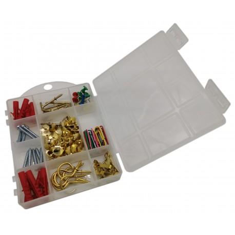Zestaw wkrętów spinaczy kołków w pudełku