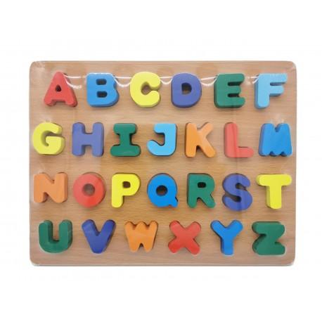 Drewniane literki cyferki alfabet na tablicy