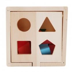 Drewniany SORTER kostka edukacyjna + klocki