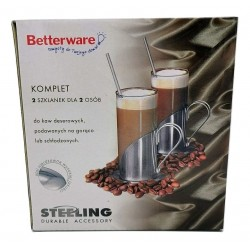 Zestaw 2 szklanek do kawy latte łyżeczki