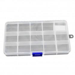 Organizer pojemnik przezroczysty pudełko na śrubki drobiazgi - 15 przegródek